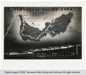1930's map of proposed TVA dams, Tennessee history, heritage, culture, politics and more at the Tennessee Historical Society.